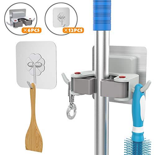 3-H Mop Bezem Houder Zelfklevend, Bezem Hanger, Gereedschapshouder Auto Zelfklevend voor Garage Tuin Badkamer Keuken Blauw
