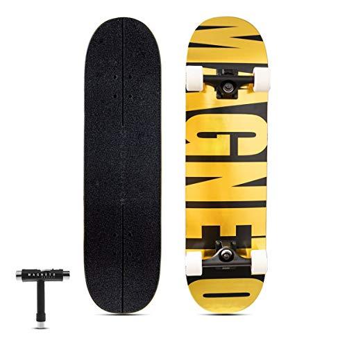 Magneto SUV-Skateboards   komplettes 78,7 x 21,6 cm Skateboard   7-lagiges kanadisches Ahorn-Deck   komplett montiert   für alle Arten von Fahrten konzipiert   Gold