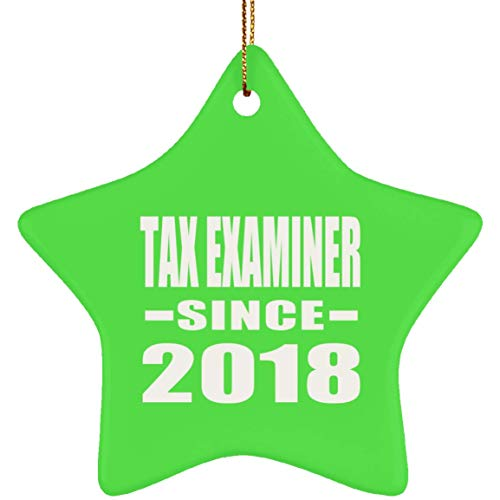 Designsify Tax Examiner Since 2018 - Star Wood Ornament Christmas Tree Hanging Decor - for Friend Colleague Retirement Graduation Kelly Birthday Anniversary