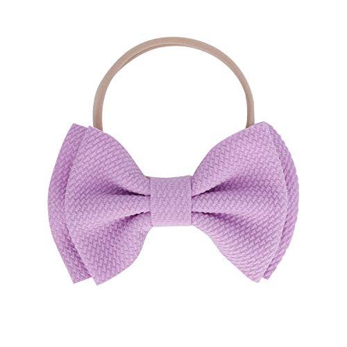 Kewl Fashion Baby Girl's Toddler 5 Inch Soft Bow-knot Nylon Hairband Headband Headdress (Lavender)