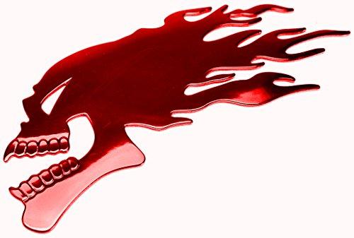 PRESKIN – 3D Totenkopf Flamme Rot Hochglanz Aufkleber Selbstklebende Metall-Optik Sticker Decal für Auto, KFZ, Motorrad, Roller, Notebook, Haustür, Kühlschrank …