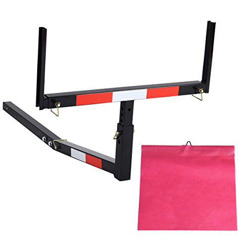 Goplus Pick up Truck Bed Hitch Extender Adjustable Extension Rack w/Flag for Ladder, Rack, Canoe,...