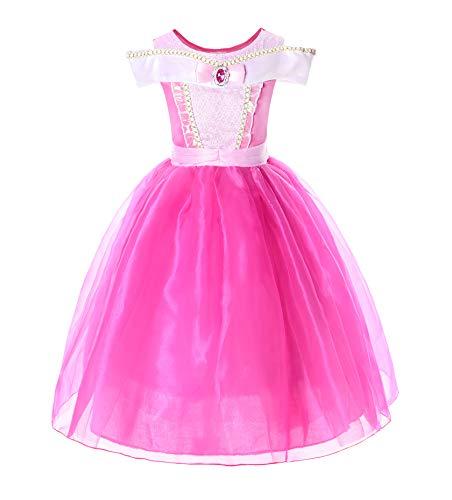 JerrisApparel Mädchen Prinzessin Aurora Kostüm Dornröschen Kleid (5 Jahre, Knöchellänge)
