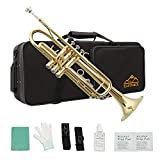 Eastrock Gold Trumpet Brass Standard Bb Trumpet Set for Student Beginner with Hard Case, Gloves, 7C Mouthpiece, Valve Oil and Trumpet Cleaning Kit(Lacquer Gold)