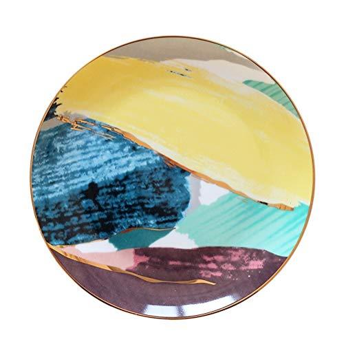 MISDD 1PCS vajilla Acuarela Pintura Oro embutido Nube de Colores 8/10 Pulgadas Placa de cerámica de Porcelana Cena pastelillo Placa de Postre (Color : Yellow, Plate Size : 10 Inches)