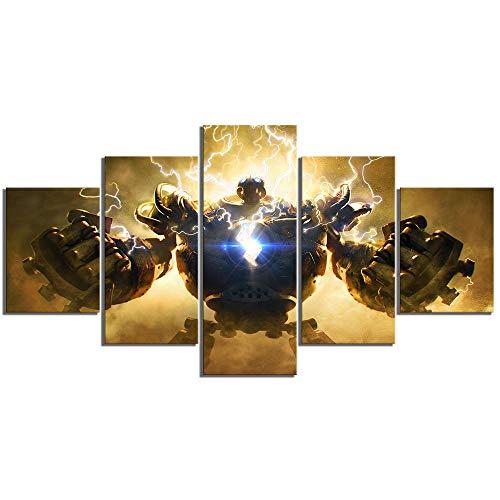 Uhgkt Canvas Prints 5 stuks De grote Steam Golem Flash Crank League Speel Poster Schilderij HD LOL Games Kunst muurschilderijen voor wooncultuur