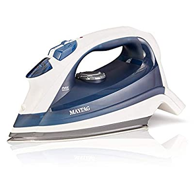 Maytag Speed Heat Steam Iron & Vertical Steamer with Stainless Steel Sole Plate, Self Cleaning Function + Thermostat Dial M200 Blue (Renewed)
