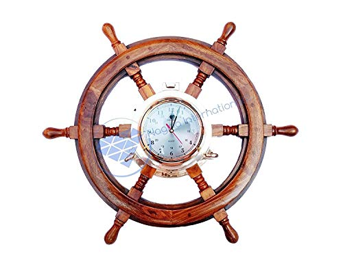 Nagina International Pirate Style Nautical Wood Crafted Ship Wheel | Teak Finish | Captain Maritime Beach Home Decor Gift (24 Inches)