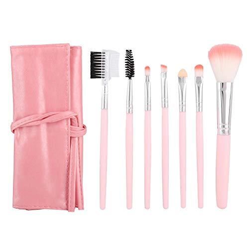 Alinory Maquillage Brush, Outil de beauté Set 7pcs brosse portable pour les débutants avec sac de brosse en PU(Rose)