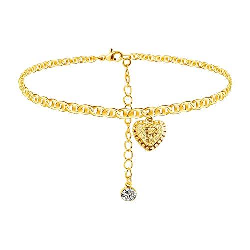Tobillera con diseño de letra de diamante y letras del alfabeto, chapado en oro de 24 quilates, pulsera de cadena de marinero, regalo para mujeres y niñas