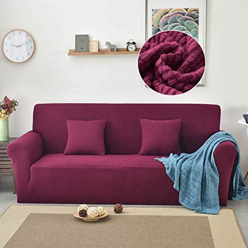 DMGY Polar Fleece Velvet Elastic Sofabezug Für Wohnzimmer Stretch Schonbezug Solid Color Funda Sofa Stuhl Couch Bezug 1/2/3/4 Sitzer,Lila,3 seat 190 * 230cm