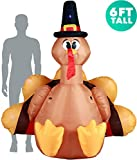 Holidayana Turkey with Pilgrim Hat Inflatable 6ft Thanksgiving Turkey with Pilgrim Hat Inflatable Yard Decoration with Built-in Bulbs, Tie-Down Points, and Built-in Fan