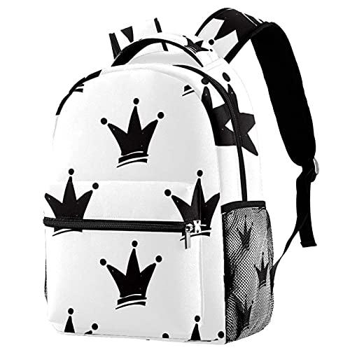 Leisure Daypacks Campus - Mochilas de viaje con corona de princesa, bolsas blancas y negras con soporte para botellas para niñas y niños