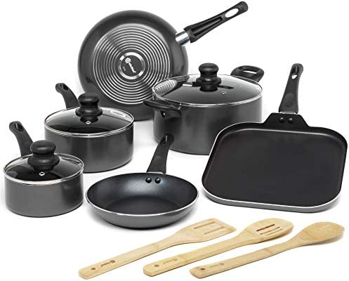Ecolution Easy Clean Non Stick Cookware Dishwasher Safe Pots and Pans Set 12 Piece Black product image