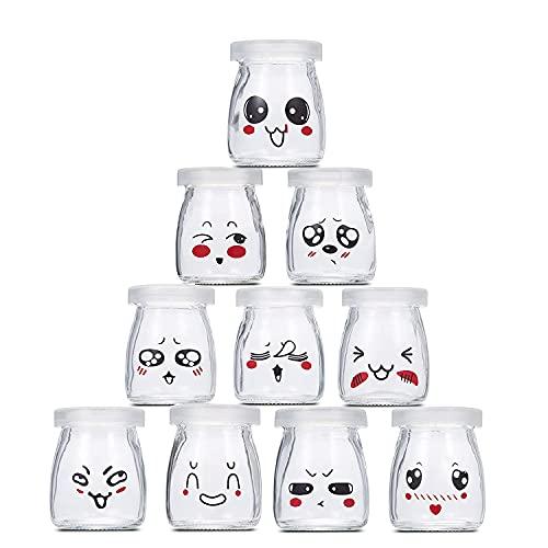 Flliberté 10 Vasetti per Yogurt o Crema Dessert Vetro con Emoticon Decor Coperchi capacità 100 ml