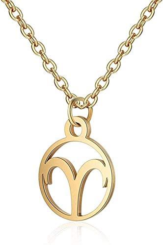 Liuqingzhou Co.,ltd Collar de Acero Inoxidable Collar de astrología Zodiaco Mujeres 12 constelación horóscopo Oro Pareja Collares Hombres joyería niñas Regalo