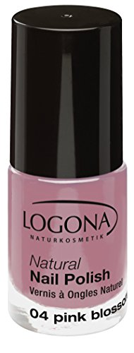 LOGONA Naturkosmetik Natural Nail Polish, Nagellack No. 04 Pink Blossom, Deckendes Pink, Natürliche Inhaltsstoffe, NATRUE/BDIH zertifiziert, 4ml