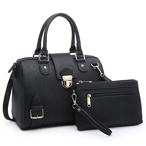 Dasein Women Barrel Handbags Purses Fashion Satchel Bags Top Handle Shoulder Bags Vegan Leather Work Bag Tote (Black)