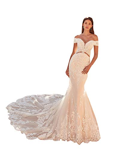 Embroidered Appliques Lace Wedding Dresses for Womens V Neck Off Shoulder Trumpet Wedding Bridal Gowns Sweep Train White 2