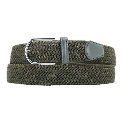 YEHMAN Cintura Elastica Intrecciata Stretch per Uomo e Donna Confortevole per Jeans Pantaloni Lunghezza 105-110 cm Kaki