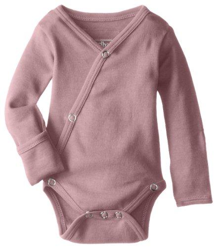 L'ovedbaby Unisex-Baby Organic Cotton Kimono Long Sleeve Bodysuit, Mauve, 0/3 Months