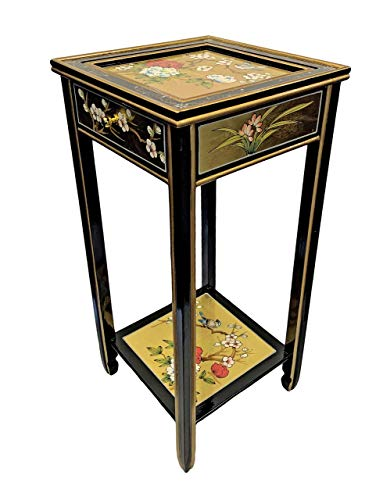 Oriental Furniture Warehouse Chinese Plant Stand - Exquisite Gold Leaf on Solid Elmwood - Masterfully Hand Crafted and Hand Painted. Features a Single Felt Lined Drawer Plus a Bottom Shelf.