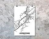 MG global AKROPONG Ghana Map Poster Black White Hometown