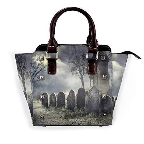 BROWCIN Halloween-Grabsteine und altes Schloss auf gruseligem Friedhof bei Nacht Abnehmbare mode trend damen handtasche umhängetasche umhängetasche