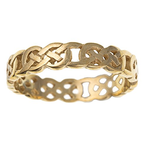 Womens 9ct Yellow Gold Open Infinity Celtic Knot Eternity Ring - 5MM Wide - Irish Jewellery - Size Q