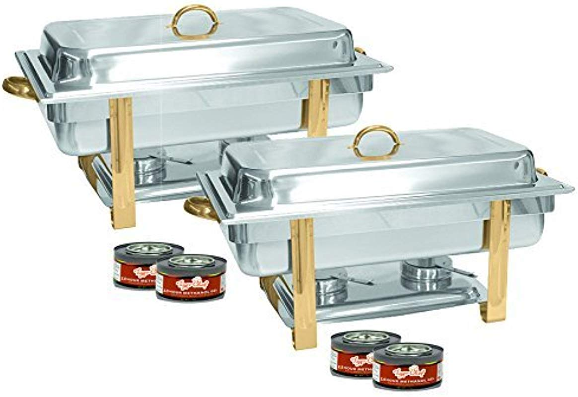 Tiger Chef 2 Pack 8 Quart Full Size Buffet Chafing Dish Set With Gold Accents And Gel Fuel Cans