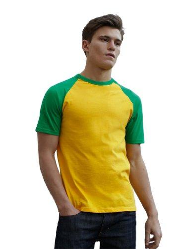 Fruit of the Loom Shortsleeve Baseball T-Shirt SonnenblumengelbMaigruen XL
