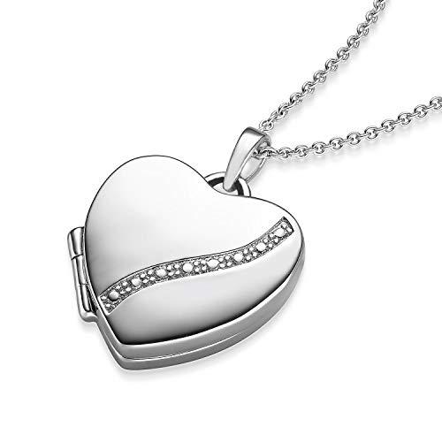 Medaillon zum Öffnen für Bilder Silber 925 Foto Geschenk romantisch Halsketten für Frauen Amulett Herz-Kette Mutter Tochter persönliche Geschenke befüllen aufklappbar Anhänger Schmuck