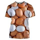 Anime Divertido Harajuku Camisa pulóver Comida Huevos Camiseta de Manga Corta Casual Cosplay Disfraz Camisa de yema 10 Asian Size 4XL