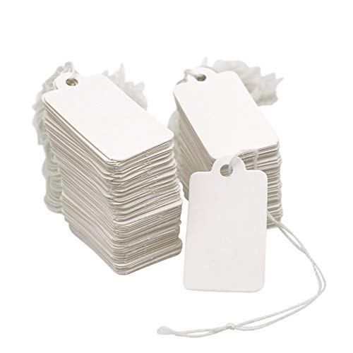 """500PCS Small Price Tags with String,1.8"""" X 1"""" Clothes Size Tags Coupon Tags Making Tag White Store Tags Clothing Tags for Product Jewelry Clothing Tags"""