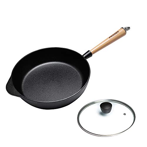 IPROUDER Pre-Seasoned Cast Iron Frying Pan 28.5cm, Cast Iron Deep Skillet, Steak Frying Pan with Wooden Handle and Glass Lid