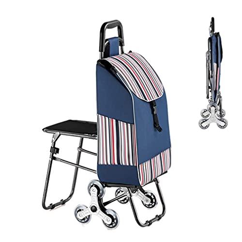 JLKDF Einkaufswagen mit Sitz Klappwagen mit 3 Rädern Treppensteigwagen Abnehmbare isolierte Trolley-Taschen Großes Fassungsvermögen für Einkaufen, Picknick, Heimaufbewahrung,Graublau