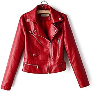 Fashion Women's Slim Short Leather PU Leather Jacket L