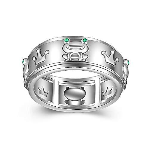 Anillo de plata de ley para mujer, diseño de rana, estilo gótico, vintage, esmeralda, ansiedad, anillo hecho girar a juego, compromiso y amistad Talla 8