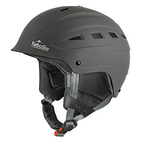 TurboSke Ski Helmet, Snowboard Helmet, Snow Sports Helmet for Men Women and Youth (Gray, M)