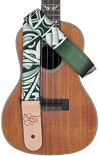 "1.5"" Hawaiian Print Ukulele Strap - Green Tapa"