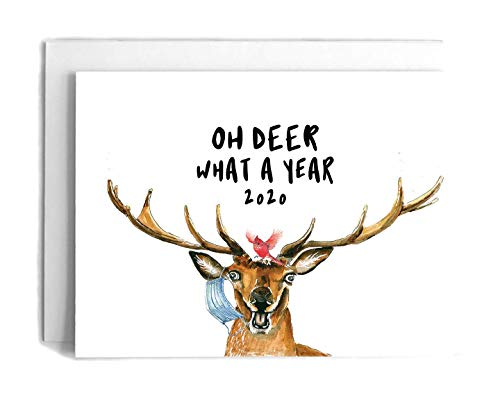 Funny COVID Holiday Card Pack - Oh Deer What A Year - 2020 Animal Corona Christmas Card Set - Quarantine Christmas Gifts For Friends - Liyana Studio Greeting Cards
