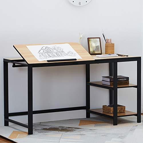 """Sedeta Tiltable Drawing Table, 55"""" Large Drafting Table, Adjustable Modern Office Desk with 2-Tier Storage Shelves, Multi-Function Workstation Computer Desk Gaming Desk Study Desk Art Desk, Oak"""