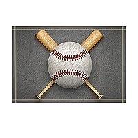 カーペットエントリーマットスポーツデコレーション、野球レザーボールと木製バスラグ、滑り止め玄関マットフロア玄関屋内フロントドアマットキッチンバスルームギフト用