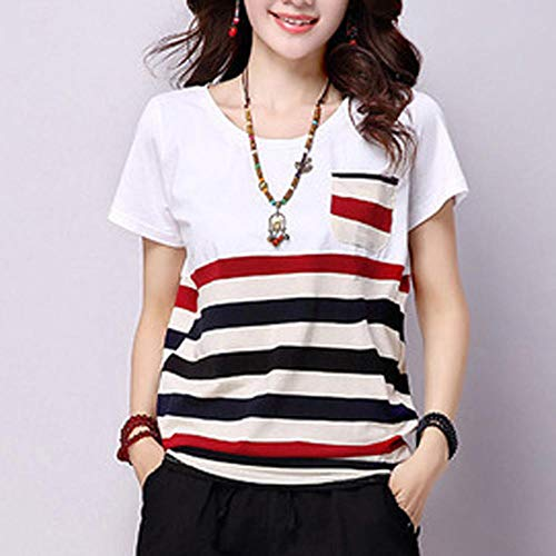 T-Shirt Women Polyester Striped O-Neck Short-Sleeved Clothes Loose Plus Size Ladies Tops Apply To Daily Use Exercise Running Cycling Gym Etc-Wine_XXXL_Style