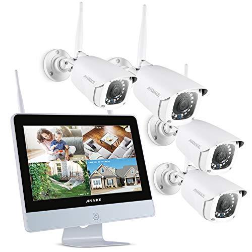 """ANNKE Kit de Seguridad WiFi 1080P 8CH NVR con Monitor 12"""" LCD y 4 Cámaras de videovigilancia 2MP inalámbrica IP66 Sistema Plug y Play Visión Nocturna con Leds Infrarrojos Acceco Remoto-sin HDD"""