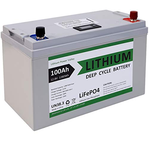 12V Lithium Battery 100Ah Deep Cycle Battery LiFePO4 12 Volt 1280 Watts Hours Lithium Battery Pack Rechargeable Battery Deep Cycle | 10 Years Lifetime 7000 Cycles | BMS Protection (12V 1280Wh 100Ah)