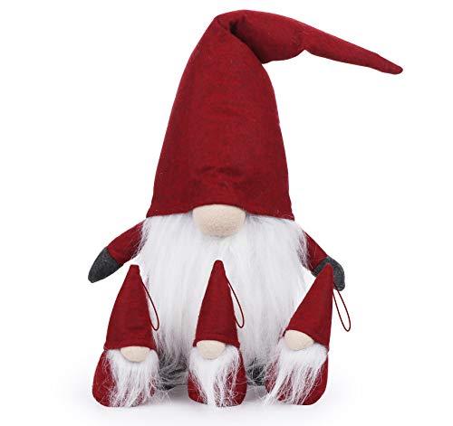 ilauke Weihnachten Deko Wichtel 49 cm Schwedischen Weihnachtsmann Santa Tomte Gnom 3er Set Ostern Weihnachtliche Wichtel Deko für Kinder Familie Weihnachtsdeko Innen Draußen (Rot)