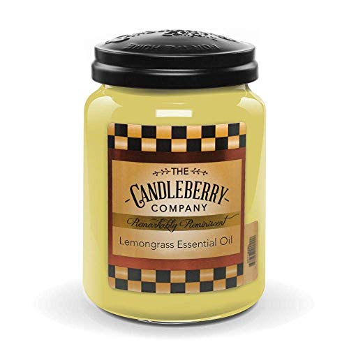 Candleberry Candles   Lemongrass Essential Oil Candle   Best Candles on The Market   Hand Poured in The USA   Highly Scented & Long Lasting   Large Jar 26 oz.