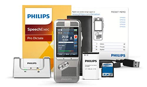 Philips DPM8200 Digital Voice Recorder Slide Switch 3D Microphone for Stereo Sound Recording Colour Display Stainless Steel Housing with SpeechExec Pro 2 Year Subscription