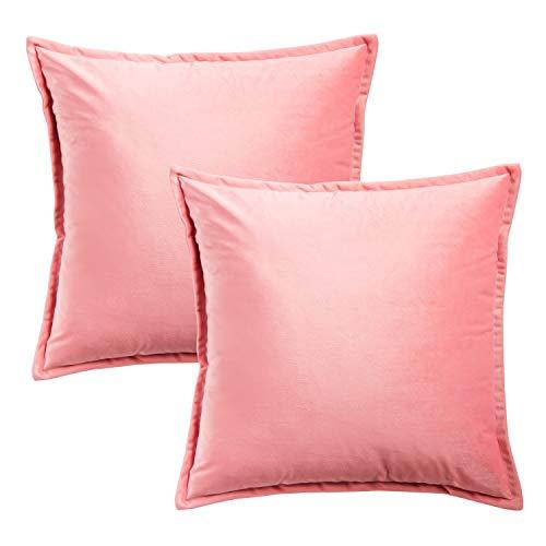Bedsure Federe Cuscino Divano in Velluto - Federa Cuscino Decorativo Rosa Quadrato 40 x 40 cm 2PK-Federe guanciali Cuscino per Letto